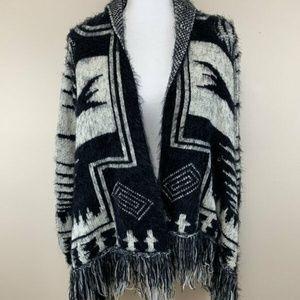 Zaria Fuzzy Southwestern Fringe Cardigan Sweater